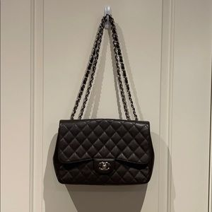 Chanel Caviar Jumbo flap brown bag 100% authentic
